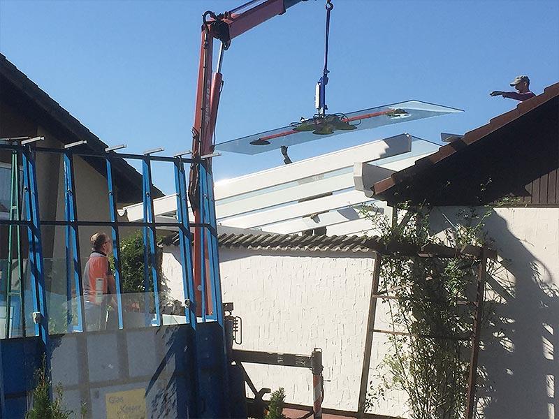 Kranmontage Dachverglasung